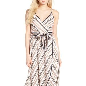 Moon River Stripe Midi Faux Wrap Dress